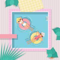 Weinlese-Swimmingpool-Vektor