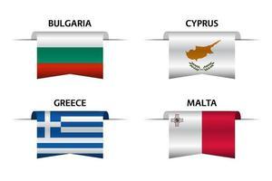 Set aus vier Bändern aus Bulgarien, Zypern, Griechenland und Malta. Hergestellt in Bulgarisch, hergestellt in Zypern, hergestellt in Griechenland und hergestellt in Malta-Aufklebern und Etiketten. Vektor einfache Symbole mit Flaggen
