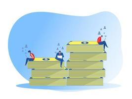 Geschäftsmann sitzt auf Geld von Grund auf neu und investiert Geldgewinne, Karrierewachstum, Vektorillustrator.