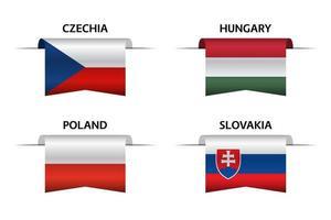 Set aus vier tschechischen, ungarischen, polnischen und slowakischen Bändern. Hergestellt in der Tschechischen Republik, Hergestellt in Ungarn, Hergestellt in Polen und Hergestellt in slowakischen Aufklebern und Etiketten. Vektor einfache Symbole mit Flaggen