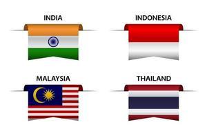Set aus vier indischen, indonesischen, malaysischen und thailändischen Bändern. Made in India, Made in Indonesien, Made in Malaysia und Made in Thailand Aufkleber und Etiketten. Vektor einfache Symbole mit Flaggen