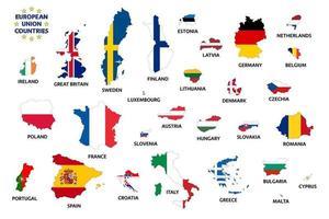 Länder der Europäischen Union mit Flaggen vor dem Brexit. Mitgliedstaaten der Europäischen Union. einfache Vektorillustration lokalisiert auf weißem Hintergrund vektor
