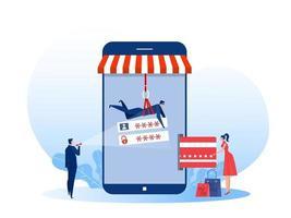 Hacker stiehlt Geld von Kreditkarte auf Shop Mobile. flache Vektorillustration. Konzept für Kriminalität, Bankwesen und Sicherheitsprobleme vektor