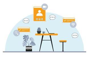 arbeta hemifrån dator internet online affärer frilansare illustration vektor