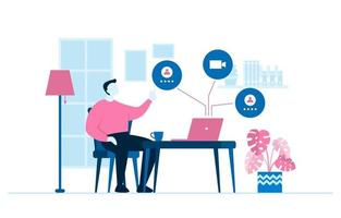 människor arbetar hemifrån internet online affärer frilansare illustration