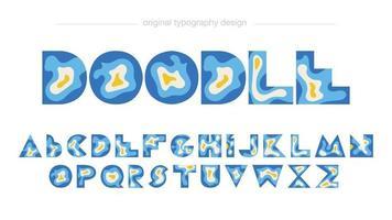 abstrakte geometrische isolierte Typografie des blauen Papierschnittstils vektor