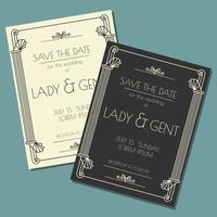 Romantische Art Deco Save die Datums-Karte