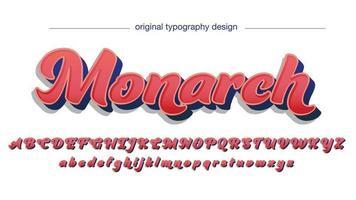 rote 3d elegante kühne kursive Art isolierte Schriftart vektor