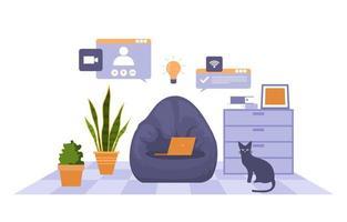 Arbeit von zu Hause aus Computer Internet Online Business Freiberufler Illustration vektor