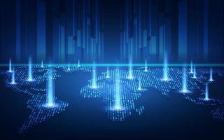 Blockchain-Technologie mit globalem Verbindungskonzept, geeignet für Finanzinvestitionen oder Kryptowährungstrends vektor
