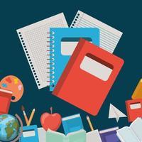 anteckningsböcker och förnödenheter tillbaka till skolan