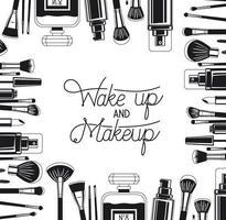Satz Make-up Pinsel und Produkte rahmen um vektor