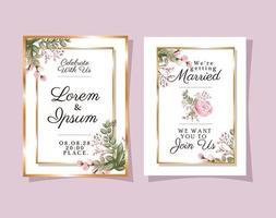 zwei Hochzeitseinladungen mit Goldrahmen rosa Blumen und Blätter Vektor-Design vektor