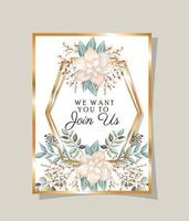 Hochzeitseinladung mit Goldrahmenblumen und lässt Vektorentwurf vektor