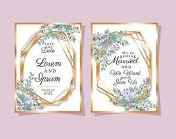 zwei Hochzeitseinladungen mit Goldrahmen lila Blumen und Blätter Vektor-Design vektor