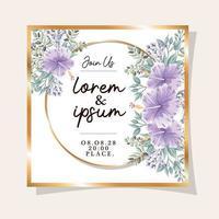 Hochzeitseinladung mit Goldrahmen Hawaii Blumen und Blätter Vektor-Design vektor