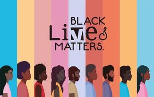 vielfältige Cartoon Menschen Hintergrund für schwarze Leben Materie vektor