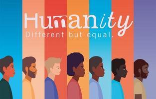 mänsklighetskoncept med interracial män vektor