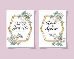 zwei Hochzeitseinladungen mit Goldrahmen Blumen und Blätter Vektor-Design vektor