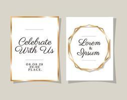 zwei Hochzeitseinladungen mit Goldrahmenvektorentwurf vektor