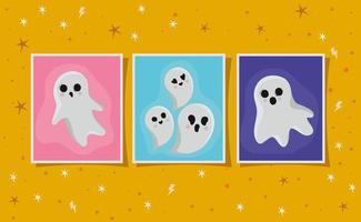 halloween spöken ramuppsättning vektor
