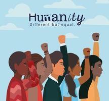 Menschlichkeitskonzept mit interracialen Menschen vektor