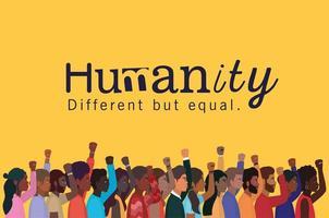 mänsklighet koncept med interracial människor vektor