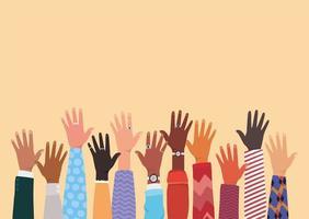 mångfaldskoncept med interracial hands up vektor