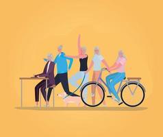Seniorenfrauen, die Aktivitäten ausführen vektor