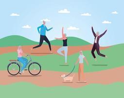 Seniorenfrauen, die Aktivitäten im Freien machen vektor