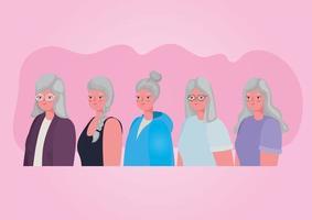Senioren Frauenprofile vektor