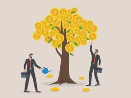 Metapher für Unternehmensinvestitionen, Gewinn und Einnahmen, zwei Geschäftsleute, die Geld aus dem Geldbaum gießen und pflücken.