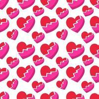 trasigt hjärtsymbol sömlös mönsterillustration bakgrund vektor