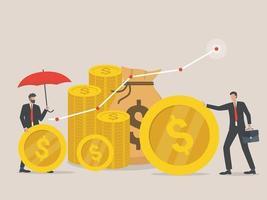 inkomsttillväxt, långsiktiga investeringar, sparande pengar, finans konsolidering, budget planering koncept.