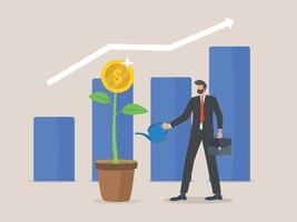 Return on Investment-Konzept, Geschäftsmann- und Geschäftswachstumspfeile zum Erfolg. Dollar Pflanzenmünzen und Grafik. Chart Gewinn steigern. Finanzdehnung steigt.