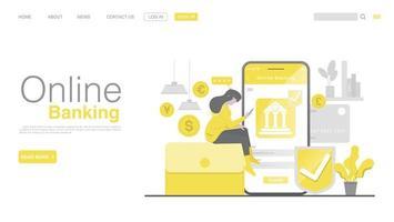 internetbank och mobilbetalning. målsida i platt stil. vektor