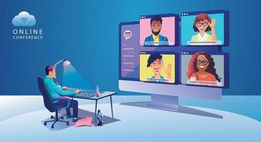 Menschen mit virtuellen Ereignissen, die eine Videokonferenz verwenden, arbeitender Geschäftsmann auf dem Fensterbildschirm, der mit Kollegen nimmt. Videokonferenz- und Online-Meeting-Arbeitsbereichsseite, Lernvektor für Männer und Frauen, flach vektor
