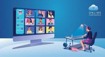 Menschen mit virtuellen Ereignissen, die eine Videokonferenz verwenden, arbeitende Geschäftsfrau auf dem Fensterbildschirm mit Kollegen. Videokonferenz- und Online-Meeting-Arbeitsbereichsseite, Lernvektor für Männer und Frauen, flach vektor