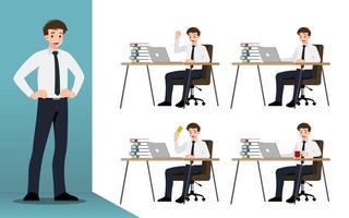 flaches Designkonzept des Geschäftsmannes mit verschiedenen Posen, Arbeits- und Präsentationsprozessgesten, -aktionen und -posen. Vektor Cartoon Charakter Design-Set.