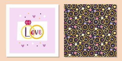 St. Valentinstag Urlaub Grußkarte Vorlage Design. Eheringe, Schmuck. Beziehung, Vorschlag. nahtloses Muster, Textur, Papier, Verpackung. vektor