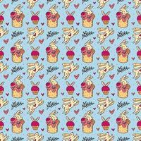 Nahtloses Muster, Textur, Hintergrund des Osterfeiertags. Kaninchen, Kuchen, Muffins, Kräuter und Herzen. Kinderverpackungsdesign, Papier. isoliert auf hellblauem Hintergrund. vektor