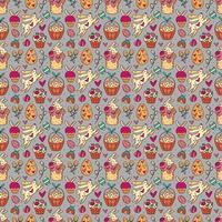 Nahtloses Muster, Textur, Hintergrund des Osterfeiertags. Kaninchen, Kuchen, Muffins, Kräuter, Eier im Korb und Herzen. Kinderverpackungsdesign, Papier. isoliert auf hellgrauem Hintergrund. vektor