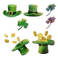 Aquarell eingestellt für St. Patrick's Day Illustration Vektor.