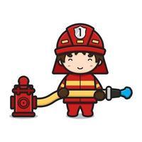 niedlicher Feuerwehrmanncharakter, der Wasser von der Hydrantenkarikaturvektorikonenillustration kastriert vektor