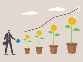 Pflanzengeld-Münzbaumwachstumsillustration für Investitionskonzept, Geschäftsmann, der Dollarbaum, Wirtschaftswachstum und Geschäftsgewinn wässert.