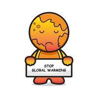 söt jord maskot karaktär stopp global uppvärmning tecknad vektor ikon illustration