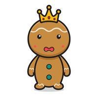 niedliche Lebkuchen-Zeichentrickfigur tragen Krone vektor