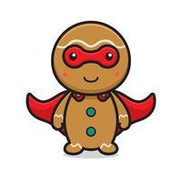 niedliche Superhelden-Lebkuchen-Zeichentrickfigur, die Maske trägt vektor