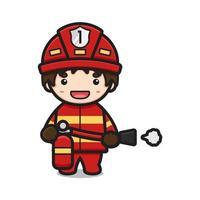 niedlicher Feuerwehrmann, der Feuerlöschercharakter-Karikaturvektorikonenillustration hält vektor
