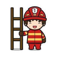 niedlicher Feuerwehrmann, der Holztreppencharakterkarikaturvektorikonenillustration hält vektor